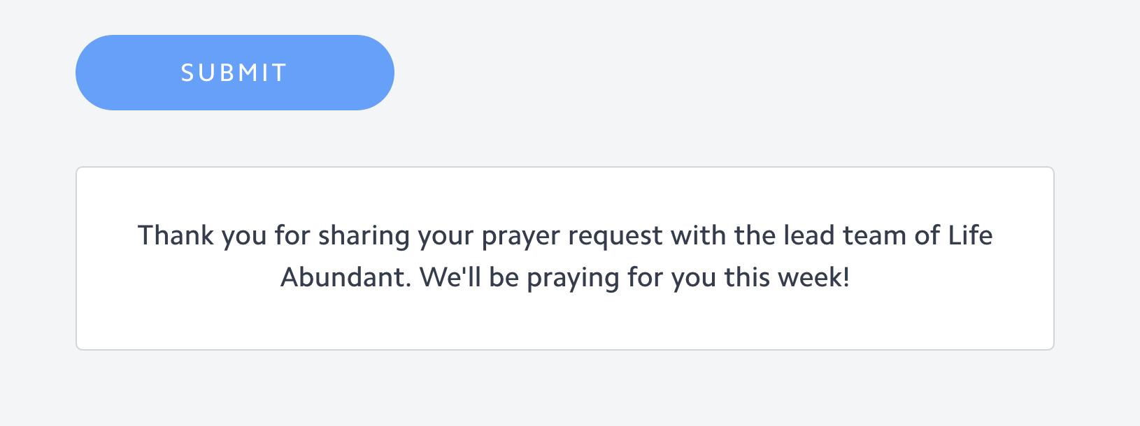 Prayer request confirmation message