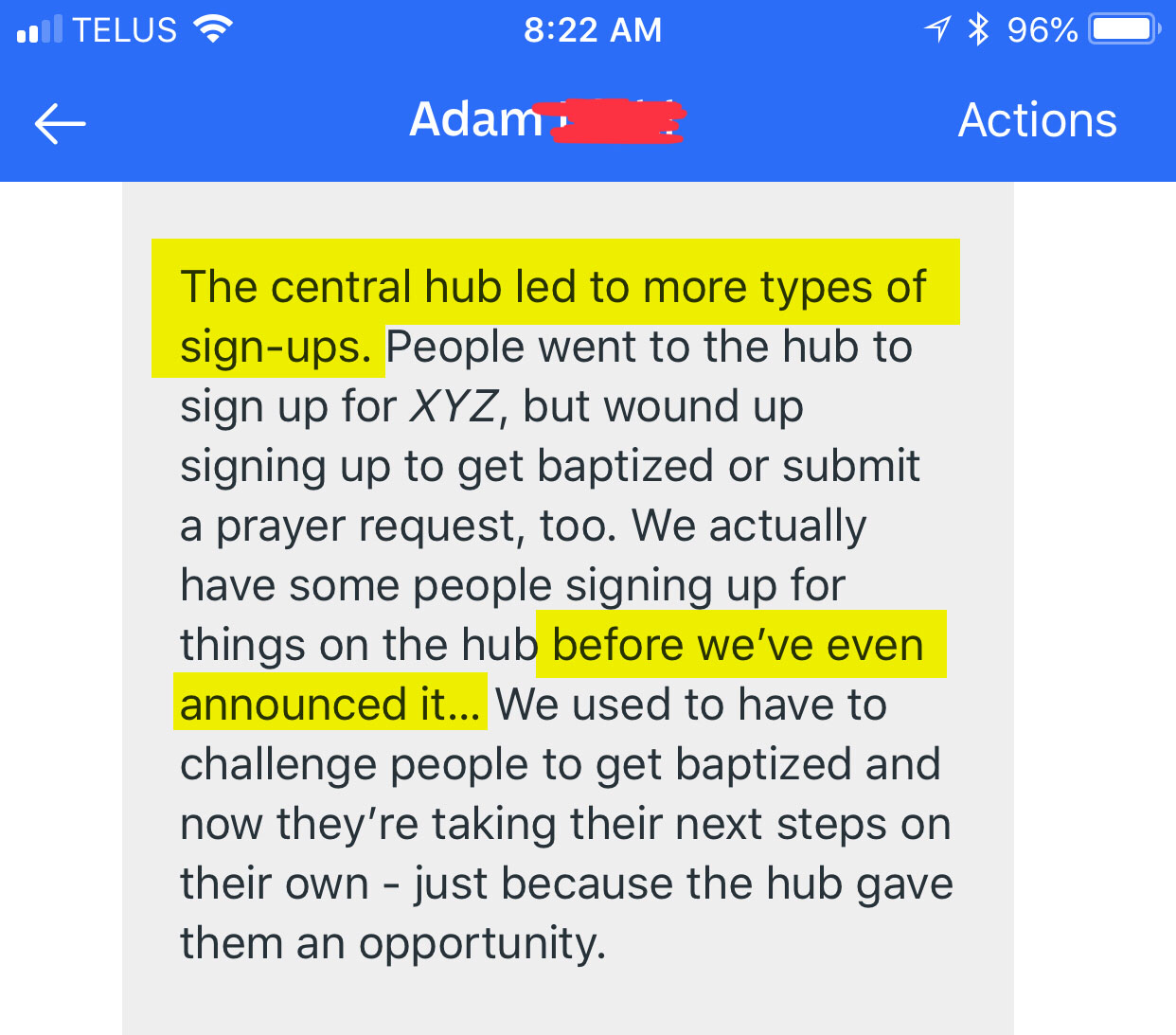The central hub led to more types of signups. We actually have some people signing up for things on the hub before we've even announced it...